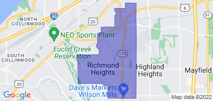 Richmond Heights, Ohio Border Map