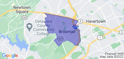 Broomall, Pennsylvania Border Map