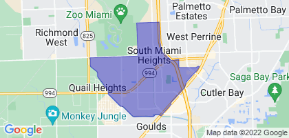 South Miami Heights, Florida Border Map