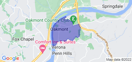 Oakmont, Pennsylvania Border Map