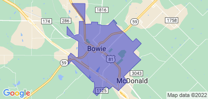 Bowie, Texas Border Map