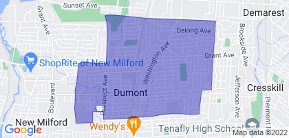 Dumont, New Jersey Border Map