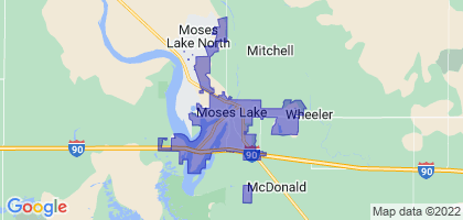 Moses Lake, Washington Border Map