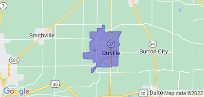 Orrville, Ohio Border Map