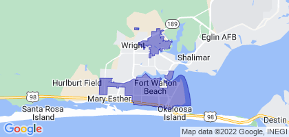Fort Walton Beach, Florida Border Map