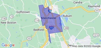 Manchester, New Hampshire Border Map