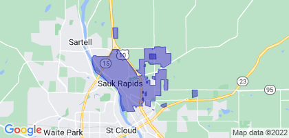 Sauk Rapids, Minnesota Border Map