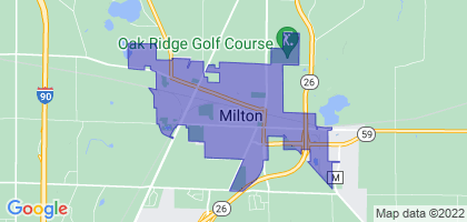 Milton, Wisconsin Border Map