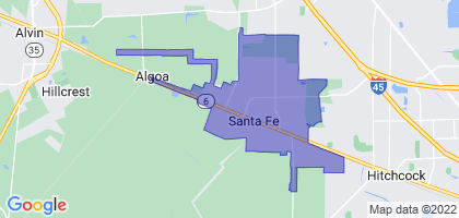 Santa Fe, Texas Border Map
