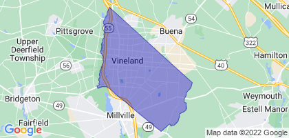 Vineland, New Jersey Border Map