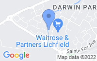 Map of Lichfield Staffordshire