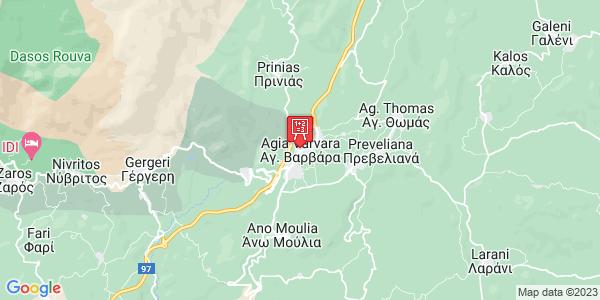 Google Map of Αγία Βαρβάρα, Heraklion, Crete Region, Greece