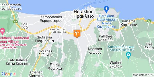 Google Map of Ούλωφ Πάλμε 96, Ηράκλειο 714 09, Ελλάδα