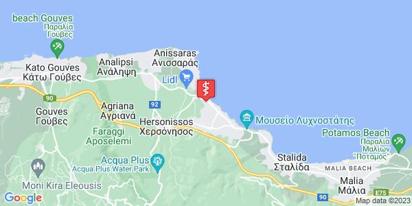 Google Map of Σπύρου Κασσαβέτη 5, Λιμένας Χερσονήσου, Ελλάδα
