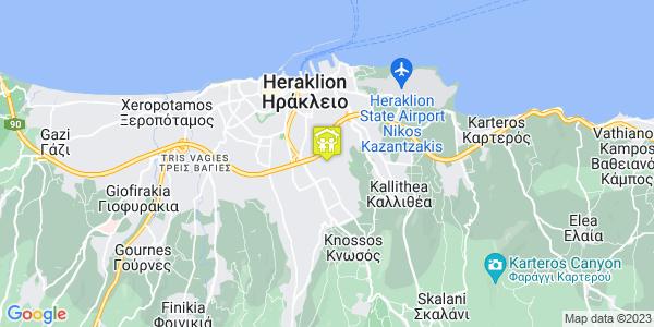 Google Map of Πικροδάφνης 38, Ηράκλειο 714 09, Ελλάδα