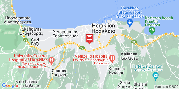 Google Map of Θεοφάνους 3, Ηράκλειο, Κρήτη, Ελλάδα