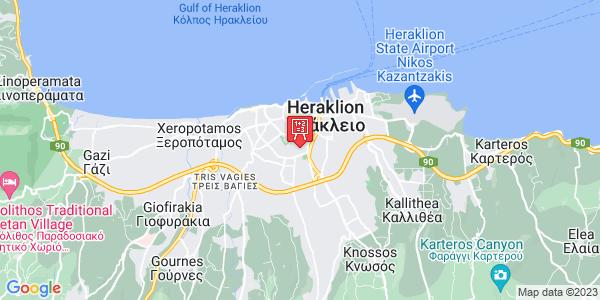 Google Map of Κωνσταντινίδη και Διονυσίου Σολωμού, Ηράκλειο 713 06, Ελλάδα