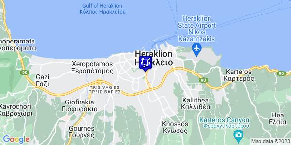 Google Map of Λεωφ. Δημοκρατίας 77, Ηράκλειο 713 06, Ελλάδα