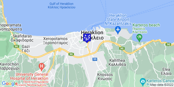 Google Map of Leof. Dimokratias 77, Iraklio 713 06, Greece