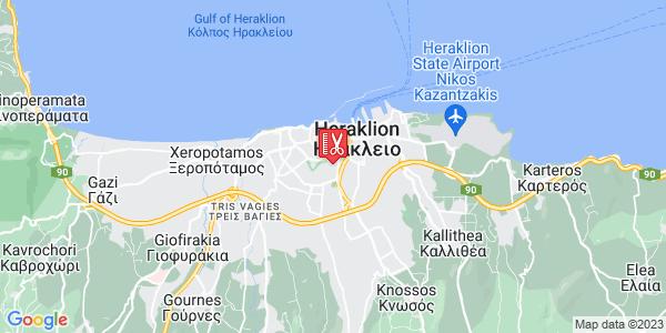 Google Map of Χρυσοστόμου 35, Ηράκλειο 713 06, Ελλάδα