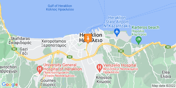 Google Map of Μονής Πρέβελης 86-88, Ηράκλειο, Ελλάδα