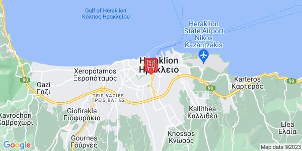 Google Map of Leof. Dimokratias 57, Iraklio 713 06, Greece