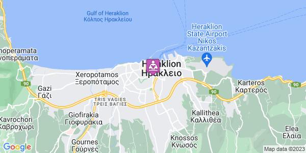 Google Map of Leof. Dimokratias 8, Iraklio 713 06, Greece