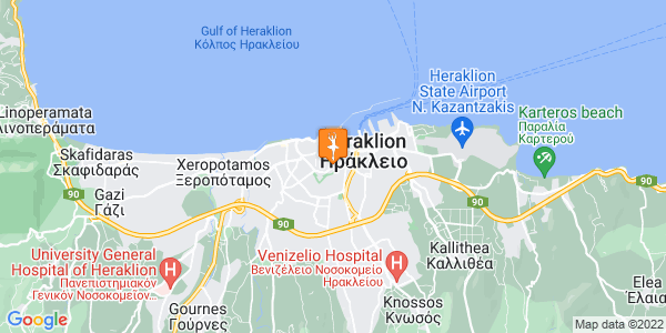 Google Map of Evans 90, Iraklio 712 01, Greece