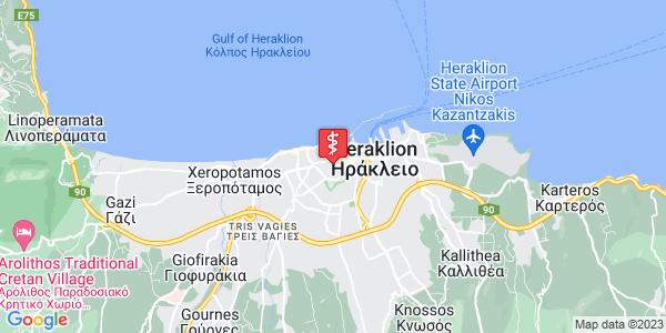 Google Map of Κυρίλλου Λουκάρεως 49, Ηράκλειο 712 01, Ελλάδα