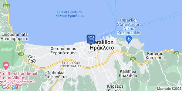 Google Map of Μονής Οδηγήτριας 14, Ηράκλειο 712 01, Ελλάδα