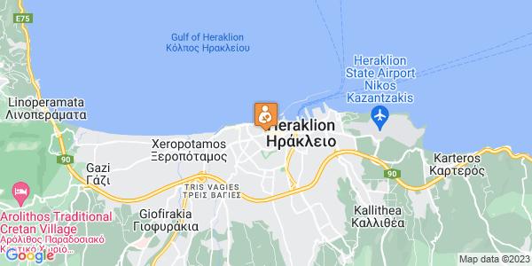 Google Map of Λεωφ. Καλοκαιρινού 55, Ηράκλειο 712 01, Ελλάδα