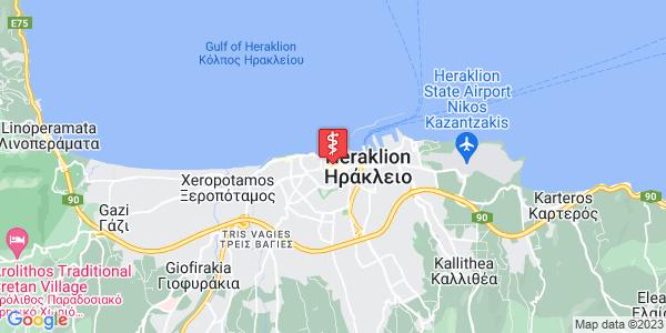 Google Map of Δικαιοσύνης 7, Ηράκλειο 712 02, Ελλάδα