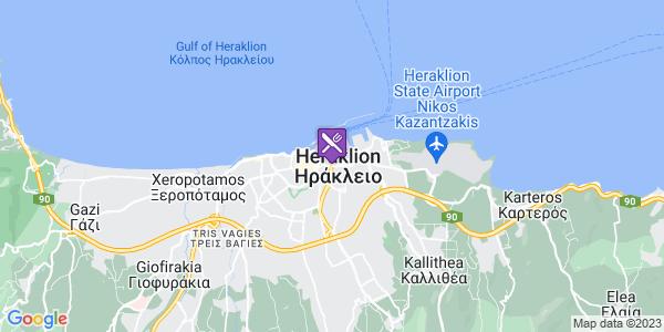 Google Map of Λεωφ. Εθ. Αντιστάσεως και Λεωφ. Ικάρου, Ηράκλειο 713 07, Ελλάδα