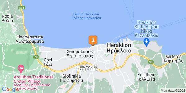 Google Map of Ισαύρων 105, Ηράκλειο 713 03, Ελλάδα