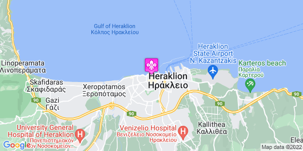 Google Map of Λόρδου Βύρωνος 16, Ηράκλειο, Ελλάδα