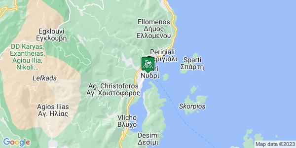 Google Map of Επαρ.Οδ. Λευκάδας - Βασιλικής, Νυδρί, Ελλάδα