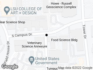 Map showing location of Forestry Ln./S. Campus Dr.