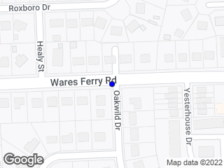 Map showing location of Wares Ferry Rd & Oakwild Dr