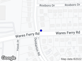 Map showing location of Wares Ferry & Dunbarton Rd