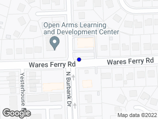Map showing location of Wares Ferry & Burbank