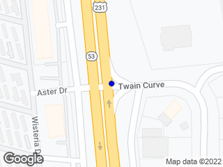 Map showing location of Twain Curve & Eastern Blvd.