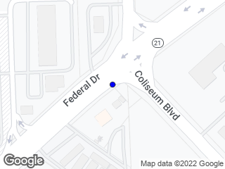 Map showing location of Federal & Coliseum