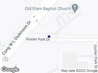 Map showing location of Gunter Park Dr. W at Cong WL Dickinson
