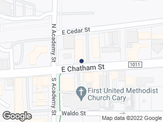 Map showing location of E Chatham St at N Academy St (WB)