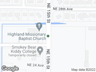 Map showing location of NE 15th Street @ NE 28th Avenue