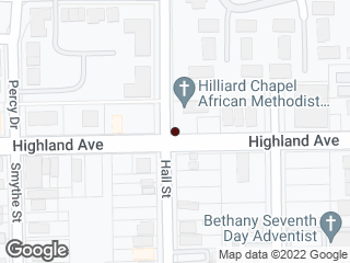 Map showing location of Highland & Hall