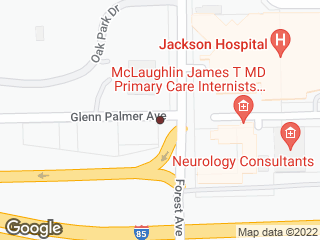 Map showing location of Jackson Hospital @ Glenn Palmer & Forest