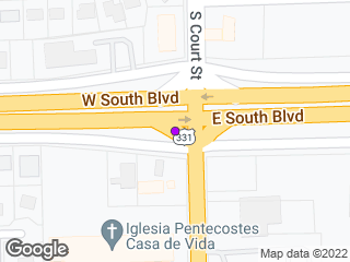 Map showing location of South Blvd & Court St