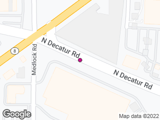 Map showing location of N Decatur @ Walmart (MARTA stop)