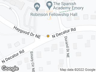 Map showing location of N Decatur @ Haygood (MARTA stop)